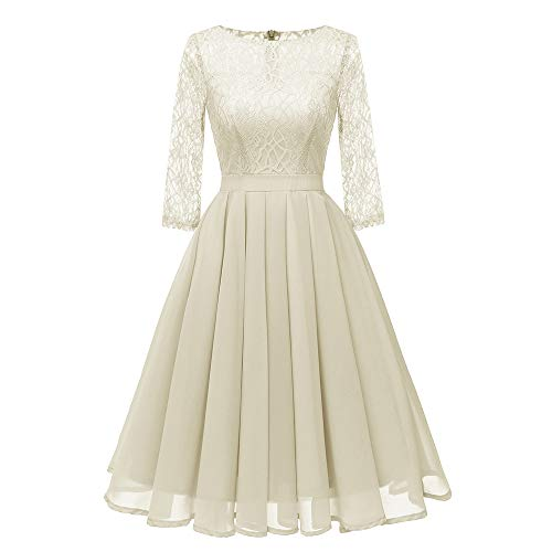 DEATU Clearance Womens Dresses Ladies Vintage Princess Floral Lace Cocktail O-Neck Party A-line Elegant Swing Dress(Beige ,XXL)