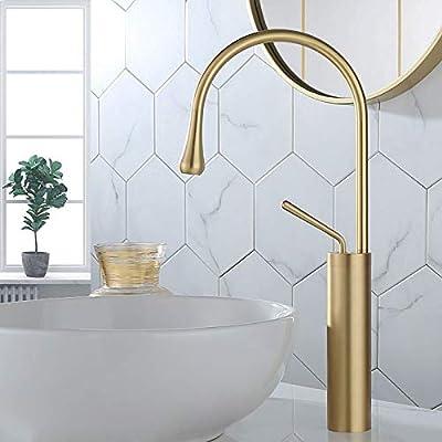 Lovedima Commercial High Arc Single Handle 1-Hole Bathroom Vessel Sink Faucet Solid Brass Lavatory Vanity Sink Faucet (Brushed Gold)