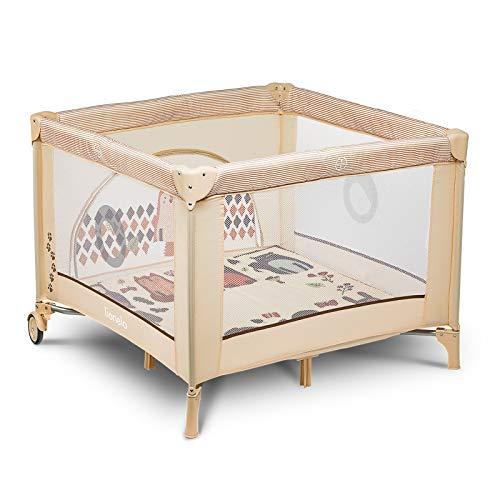 Lionelo Sofie parc pour bébé parc pour bébé lit de voyage lit bébé de la naissance jusqu'à 15 kg Système de verrouillage latéral et blocage des roues nacelle pliante (Beige)