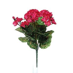 Ramo de geranio artificial de color rosa cereza artificial, 9 tallos por ramo.