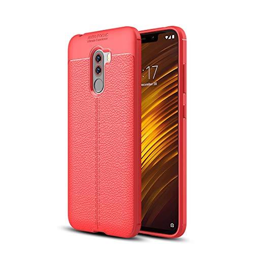 Liju. nguo Custodia Antiurto in TPU Texture Litchi for Xiaomi Pocophone F1 (Nero) (Colore : Red)