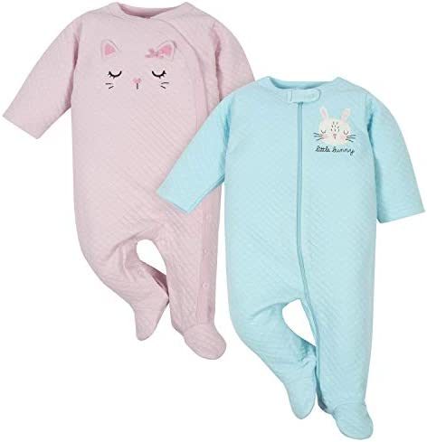 Gerber Baby Girls 2 Pack Sleep N Play Cat Bunny 3 6 Months product image