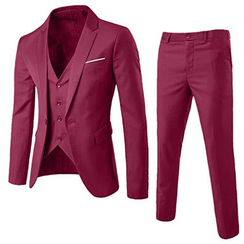 HuaCat Herren Anzug Regular Fit Business Anzüge 3-Teilig Anzugjacke Anzughose Weste Business Herrenanzug