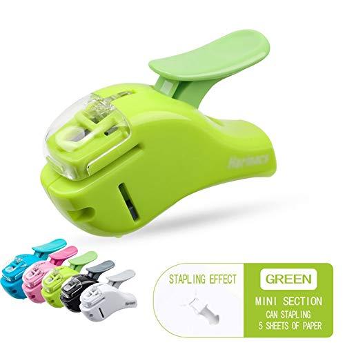 Geen naald mini nietje, handdruk kunst design - licht en comfortabel, neemt 50% minder moeite, voor thuis of op kantoor AAA-nietmachine groen