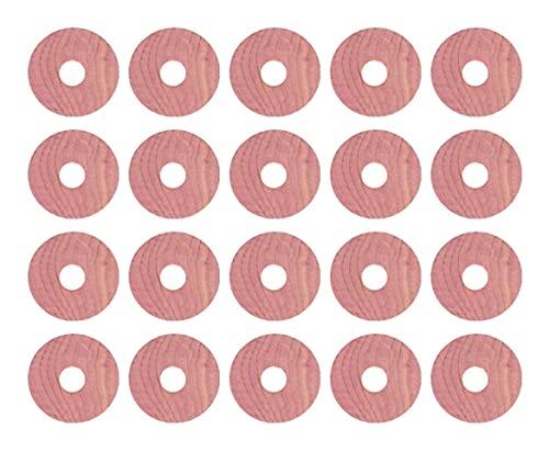 LIXBD 20pcs Aromático Cedro Bloques Percha Anillos Cedro Madera Circular Anillo Antipolillas Armario Cedro Chip Fragante Bloque Madera Ronda Chips