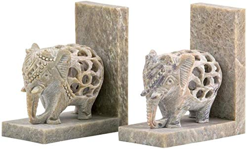 Hand-Carved Elephant Bookends Soapstone Decorative Bookend Home Decor Book End
