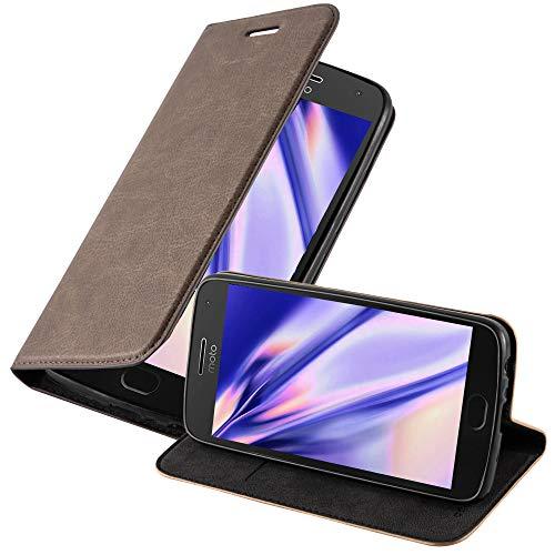Cadorabo Hülle für Motorola Moto G5 Plus in Kaffee BRAUN - Handyhülle mit Magnetverschluss, Standfunktion & Kartenfach - Hülle Cover Schutzhülle Etui Tasche Book Klapp Style