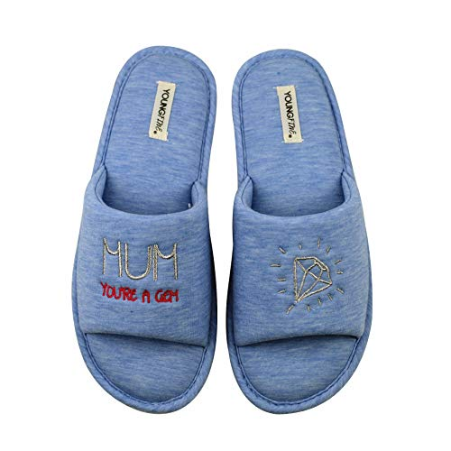 Women's Open Toe Slippers Slip-on House Shoes with Beautiful Gift Bag(3/4 Blue)