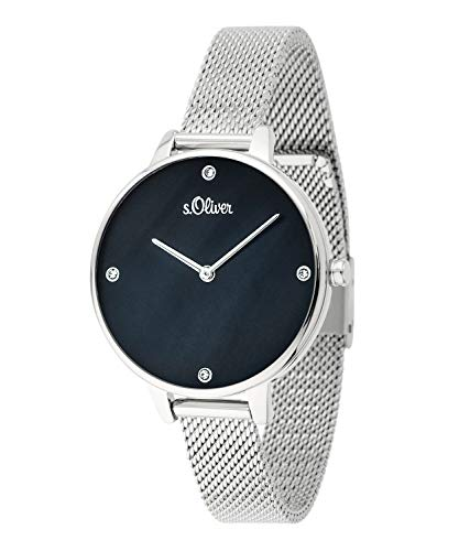 s.Oliver Damen-Armbanduhr Analog Quarz (Silber/Perlmutt-Schwarz)