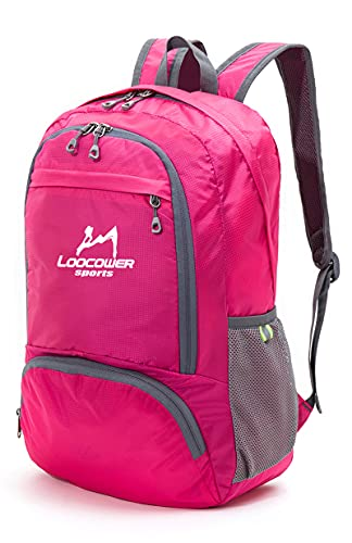 LOOCOWER Lightweight Hiking Travel Backpack, 35L Packable Ultralight Backpack Daypack, Water-Resistant Foldable Camping Outdoor Backpack for Travelling - Red