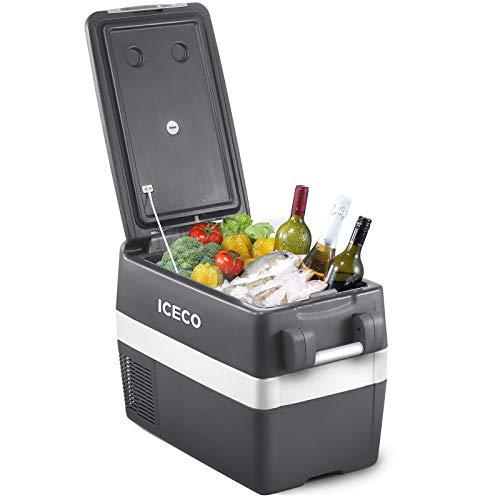 ICECO JP40 Portable Refrigerator Fridge Freezer, 12V Cooler Refrigerator, 40 Liters Compact Refrigerator with Secop Compressor, for Car & Home Use, 0℉~50℉, DC 12/24V, AC 110/240V