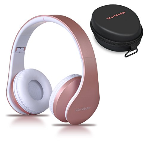 Casque Bluetooth sans Fil, Wireless Headphones Stéréo on Ear Pliable Casque 4 en 1 avec Micro Support FM Radio TF SD pour Téléphones Tablettes TV PC Notebook(Rose Gold)