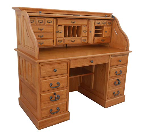Roll Top Desk Solid Oak Wood - 54 inch Deluxe Executive Oak Desk Harvest Stain Home Office Secretary Organizer Roll Hutch Top Easy Assembly Quality Crafted Construction Locking File Drawers Dovetailed
