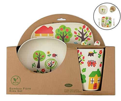 Vaisselle en Bambou Bébé et Enfant  Ensemble de Vaisselle en Fibre de Bambou - Matériau Écologique, Bio, sans BPA - Passe au Lave-Vaisselle - Set de 5 Pcs Assiette, Bol, Cuillère, Fourchette et Tasse