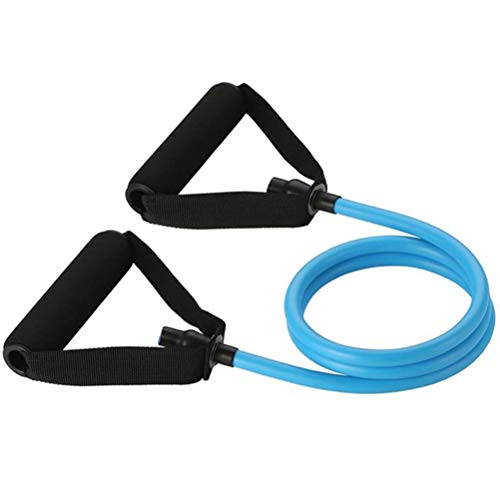 Nerplro - Banda elástica de resistencia con empuñaduras, tubo elástico de resistencia, tensor de musculación, equipamiento de fitness, NERPLROSO03380302_BE5531, azul, 120cm   47.2inch