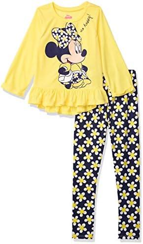 Disney Minnie Mouse Toddler Girls Long Sleeve Peplum Top Shirt Legging Set Yellow 4T product image
