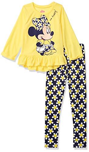 Disney Minnie Mouse Big Girls Long Sleeve T-Shirt Legging Set Yellow 7-8