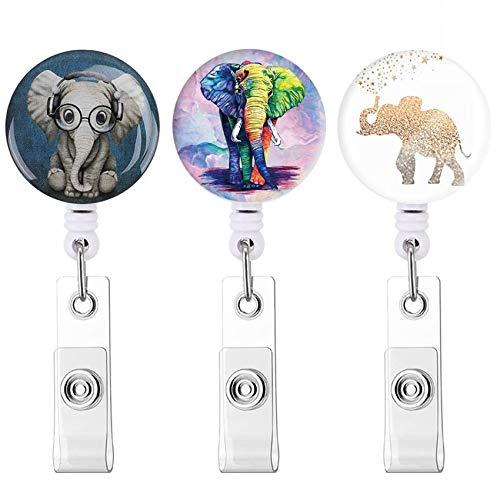 バッジリール 引き込み式IDバッジホルダー と ワニ口クリップ にとって オフィスワーカー 医師 ナース (3pack Elephant)