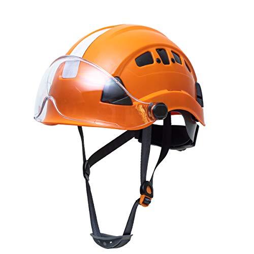 Defender Safety H1CH Safety Helmet Hard Hat with Visor ANSI Z891 for Construction Orange w/visor
