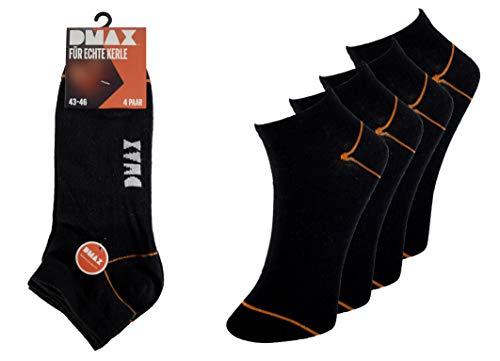 DMAX Sneakersocken für echte Kerle - 4|8|12|24 Paar - wahlweise in Schwarz, Hellgrau, Dunkelgrau,Blau, Braun und Weiß und drei Größen 39-42/43-46/47-50 (43-46, 12 Paar Schwarz)