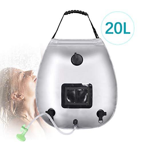 Qdreclod Campingdusche Solarduschen Tasche 20L Solar Dusche Tasche mit Duschkopf & On-Off Switchable für Outdoor Reisen Wandern Sommer Dusche