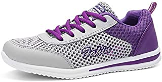 FYXKGLa Summer Breathable Hollow Female Mesh Sports Shoes Mesh Shoes Running Shoes Flat Casual Low to Help Mesh Shoes Women's Shoes (Color : Gray-Purple, Size : 36EU)