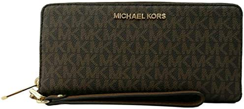 Michael Kors Women Jet Set Travel Large Travel Continental Wristlet Wallet Brown product image