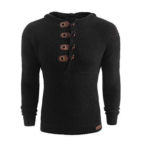 Jersey con Capucha para Hombre Suéter Decorado con Hebilla de Cuero Slim Fit Thicken Warm Plaid Jacquard Casual Jumper Tops