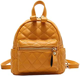 HMJZLyy Fashion car Sewing line Small Fragrance Girl Backpack Summer PU Leather Mini Check Small Backpack (Color : Yellow, Size : 15 * 21 * 8cm)