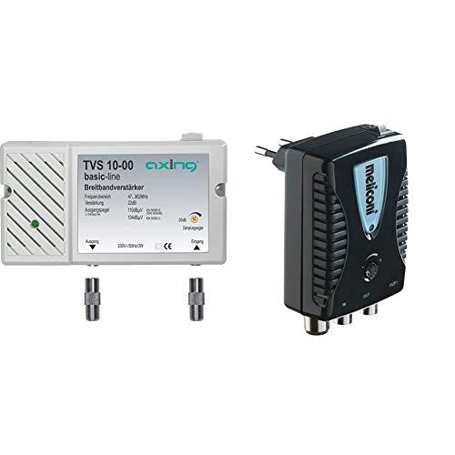 Axing TVS 10-00 Amplificatore Banda Larga per digitale terrestre tv e radio (22 dB, 47-862 MHz) & Meliconi AMP20 Amplificatore di Antenna Digitale da Interni con filtro LTE