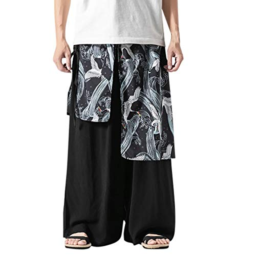 serliy😛Herren Leinenhose Vintage Lose Hosen Bequemer Schnitt Locker Leinenhose Plus Größe Leinen Freizeithose Haremshose Yogahose Hose Weitem Bein Retro Yoga Gypsy Pants