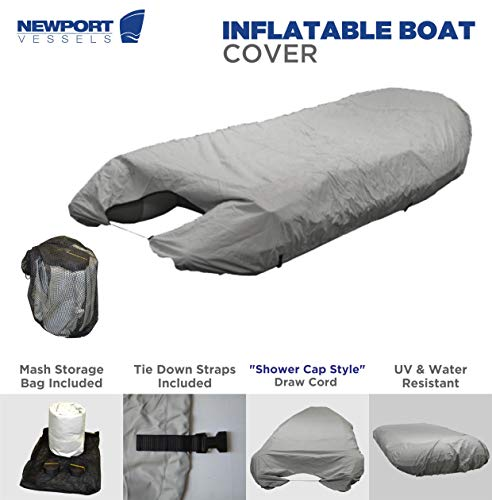 Newport Vessels UV Resistant Inflatable Dinghy Boat Cover, Grey, 10-11-Feet