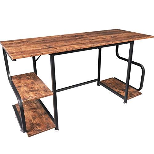 LA Lavievert Computer Desk with Storage Shelves 55 inch Study Writing Table for Home & Office - Retro Brown