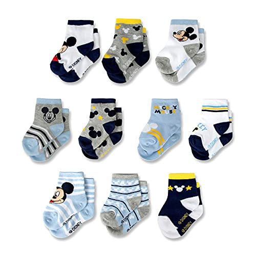 Disney Baby Newborn,Mickey Mouse10-PackInfant SockforBoys 0-24 Old, Dark Blue, Age 6-12 Months