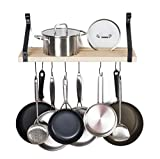 Soduku Pot Pan Rack with Solid Wood Shelf, Wall Mounted Multifunctional Kitchen Hanging Organizer...
