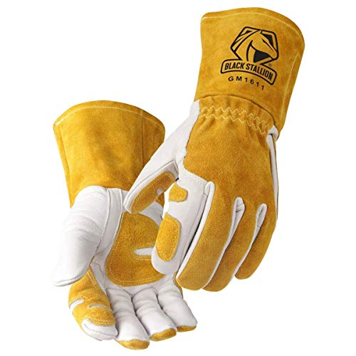 """Revco GM1611 Top Grain Leather Cowhide MIG Welding Gloves with Reinforced Palm & Thumb & Index Finger, Seamless Forefinger, 5"""" Cuff for Extra Protection (Medium)"""