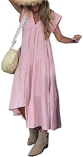 Kobiety z krótkim rękawem V Neck Loose Midi Dress Casual Nieregularny Hem Ruffle Swing A-Line Sukienka Shift Shirt Dresses Summer Beach Cover Up Sukienka (Kolor : Różowy, Rozmiar : XL)