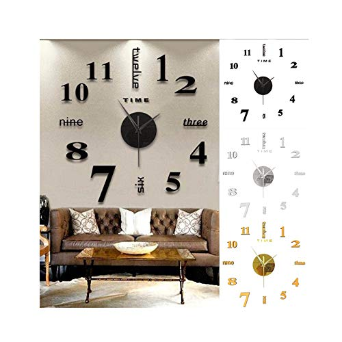 Beauteye Modern 3D Wall Clock Numbers Letters DIY 3D Stickers Clock Office Home Decor Gift DIY Wall Clock Mute Mirror Stickers Home Office Decoration Stickers Decoration Diameter about 50cm