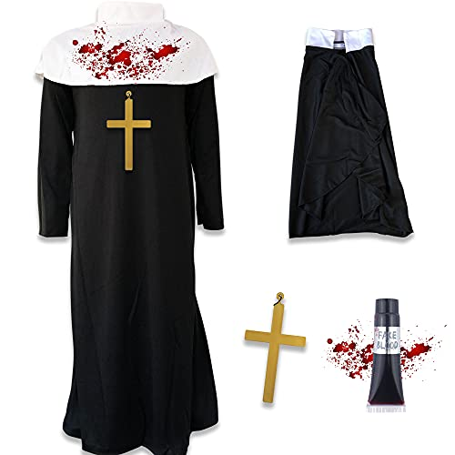 Disfraz de monja zombi para Halloween, disfraz de horror y cruz de sangre falsa (mediana (7-9 aos)