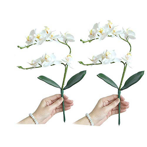 Orchideen künstlich , Fellibay Künstliche Phalaenopsis Orchideenblüte, 2 Blüten Orchideen, Seidenblumen, Phalaenopsis Bouquet Home Wedding Decor 2 Stück, weiß, 18.50in