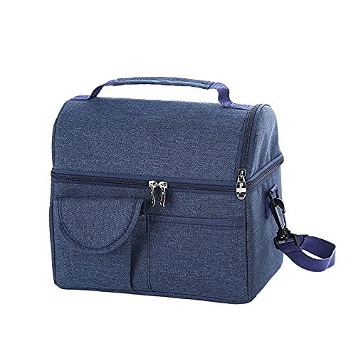 LCISCOUP Bolsa Almuerzo Bolso Reutilizable Reutilizable Oficina Escuela Picnic Portátil Portátil A Prueba de Fugas Caja de Almuerzo Tote Handbag (Color : Blue)