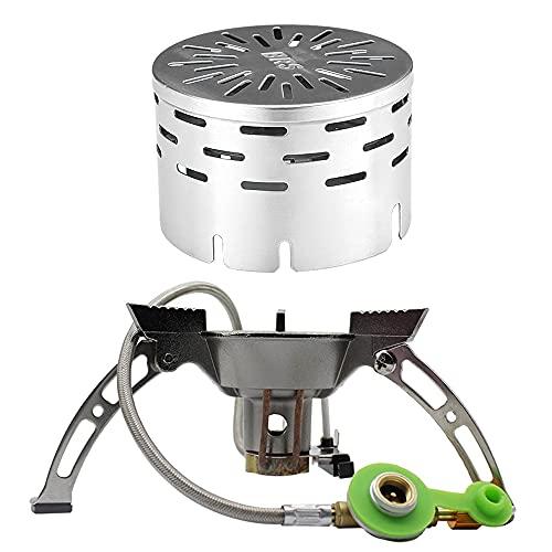 Hornillos de gas cocina picnic estufa de camping al aire libre + cubierta de calefacción infrarroja lejana a prueba de viento barbacoa estufa de gas cubierta
