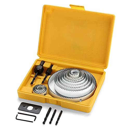 """21pcs Hole Saw Kit Carbon Steel,Normal Wood, Plywood, Drywall, PVC Board and Plastic Plate, Hole Saws with Mandrels, Hex Key and Install Plate, Cut Diameter 3/4""""-5"""" Full Set in Storage Box"""