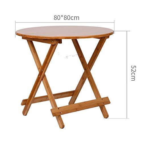 KSUNGB Mesa plegable simple redonda de bambú, multifunción, mesa de comedor para ordenador portátil, soporte de aprendizaje 80*80*72cm Mesa
