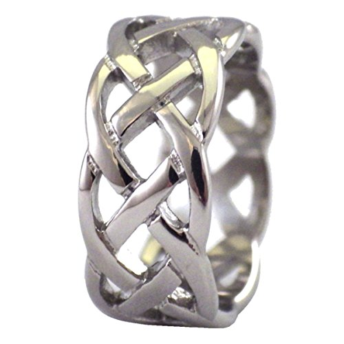 Fantasy Forge Jewelry Celtic Knot Ring Open Weave Wedding Band Stainless Steel 9mm Handfasting Size 8