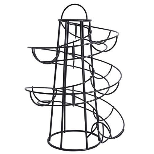 Vasko - Soporte para dispensador de huevos de pie, metal, diseño moderno en espiral, color negro