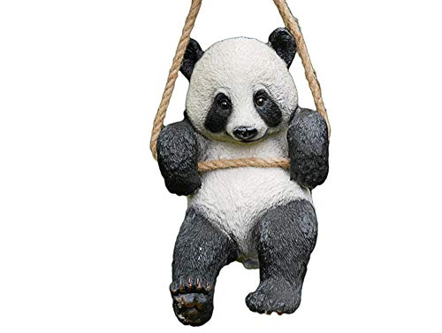 Daisy Bumbles PANDA, novelty garden ornament, Hanging animal from tree, panda on rope swing, home decoration, figure statue sculpture animal indoors or outdoors, inside or outside