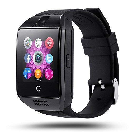 SYUM Smart Watch Q18 Bluetooth Smartwatch, Android Smartwatch with Camera/SIM Card Slot Sports Watch Compatible with Smartphone Or Android Mobile Phones for Boys and Girls (Q18 Black)