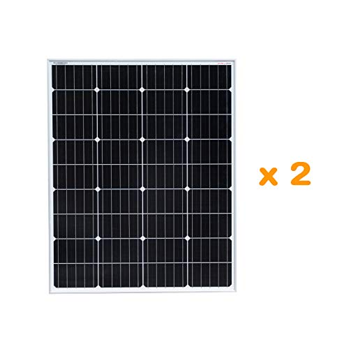 enjoysolar hochwertiges Monokristallines Solarpanel 100W Solarmodul ideal f. 12V PV-System (Doppelpack)
