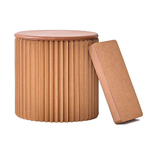 BCGT Taburete de Papel Taburete de Papel portátil Plegable, Estructura de Abeja Silla Baja de Taburete para Cambiar de Zapato, Maquillaje o Juego de niños (Color : Brown, Size : 56×36cm)